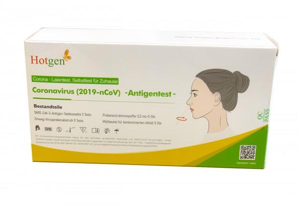 5 Stück (Box) HOTGEN Novel Antigen Nasal-Schnelltest zur Laienanwendung/Eigenanwendung
